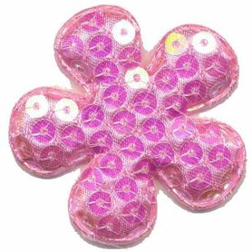 Applicatie pailletten bloem roze groot 50 mm (ca. 100 stuks)