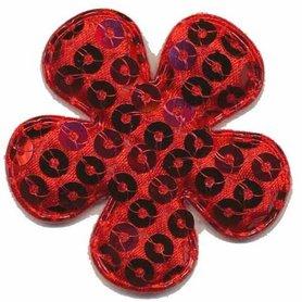 Applicatie pailletten bloem rood groot 50 mm (ca. 100 stuks)
