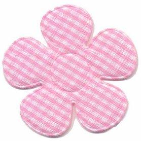 Applicatie ruitjes bloem roze groot 45 mm (ca. 100 stuks)