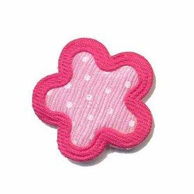 Applicatie bloem roze met witte stippen en fuchsia randje middel (10 stuks)