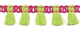 Band met kwastjes fuchsia-limegroen 15 mm (ca. 16 meter)