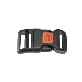 Gebogen verstelbare klikgesp zwart kunststof met rode/oranje (rechth.) veiligheidssluiting 25 mm (10, 50, 100, ... stuks)