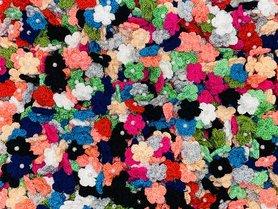 Assorti gehaakte bloemetjes 20 mm met pareltje (ca. 100 stuks)