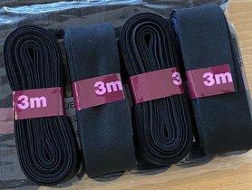 Zwart katoenen biaisband gevouwen 20mm - 20 bundels van 3 meter (60 meter)