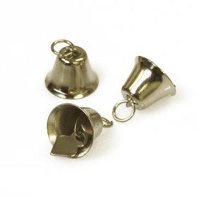 Klokvormige belletjes zilverkleurig 20 mm (ca. 25 stuks)