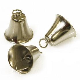 Klokvormige belletjes zilverkleurig 25 mm (ca. 25 stuks)