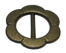 Eenvoudige bloemvormige (schuif)gesp bronskleurig kunststof GROOT (10 stuks)