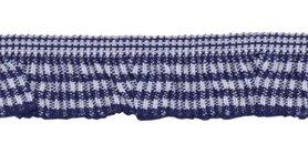 Donker blauw-wit geruite roezel elastiek 19 mm (ca. 10 meter)