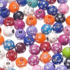 Kralen mix rond met zilveren sterretjes ca. 12 mm (ca. 145 stuks)