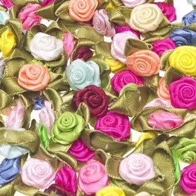 Roosjes satijn op blad 15 x 25 mm MIX summer (ca. 100 stuks)