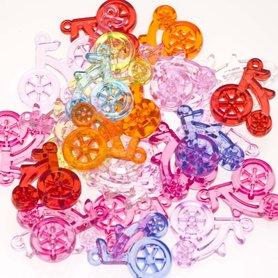 Bedel fietsje mix kleuren 25x30 mm (ca. 25 stuks)