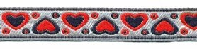 Rood-donker blauw-zilver hartjesband 12 mm (ca. 22 m)