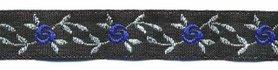 Zwart-zilver-blauw bloemband 12 mm (ca. 22 m)