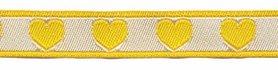 Geel-wit hartjesband 12 mm (ca. 22 m)