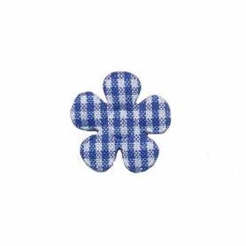 Applicatie geruite bloem kobalt blauw-wit klein 20 mm (ca. 100 stuks)