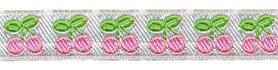 Roze-wit-groen kersjes band 12 mm (ca. 22 m)