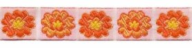 Oranje-geel-wit bloemband 12 mm (ca. 22 m)