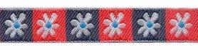 Witte bloem in donker blauw en rood vierkantje band 12 mm (ca. 22 m)