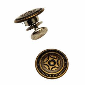 Jeans knoop sierster oud brons kleur 17 mm (25 stuks)