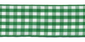 Ruit band groen-wit 25 mm (ca. 45 m)
