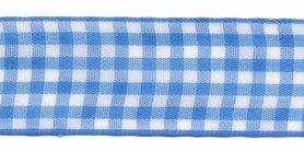 Ruit band blauw-wit 25 mm (ca. 45 m)