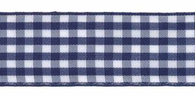 Ruit band donker blauw-wit 25 mm (ca. 45 m)