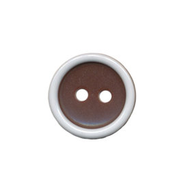 Knoop met opstaande rand bruin-wit 15 mm (ca. 50 stuks)