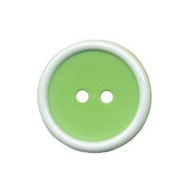 Knoop met opstaande rand appel groen-wit 20 mm (ca. 25 stuks)