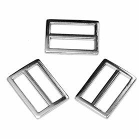 Metalen schuifgesp zilverkleurig RECHTHOEKIG 30 mm (10 stuks)