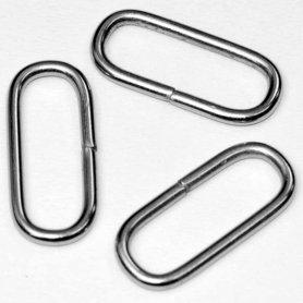 Metalen passant met ronde hoeken zilverkleurig ZWAAR 38 mm (ca. 25 stuks)