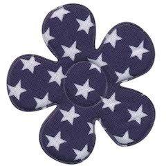 Applicatie bloem donker blauw met witte sterren katoen groot 45 mm (ca. 100 stuks)