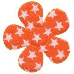 Applicatie bloem oranje met witte sterren katoen groot 45 mm (ca. 100 stuks)