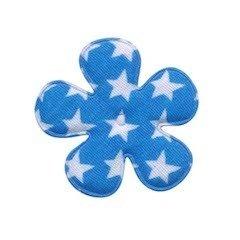Applicatie bloem blauw met witte sterren katoen middel 35 mm (ca. 100 stuks)