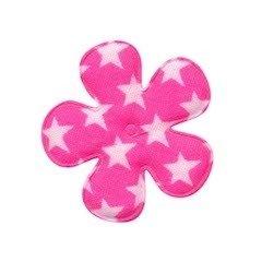 Applicatie bloem knal roze met witte sterren katoen middel 35 mm (ca. 100 stuks)