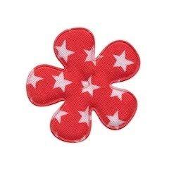 Applicatie bloem rood met witte sterren katoen middel 35 mm (ca. 100 stuks)