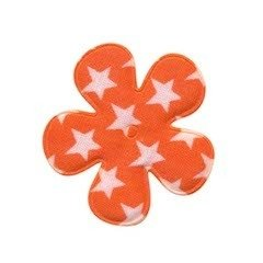Applicatie bloem oranje met witte sterren katoen middel 35 mm (ca. 100 stuks)
