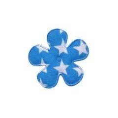 Applicatie bloem blauw met witte sterren katoen klein 25 mm (ca. 100 stuks)