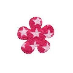 Applicatie bloem fuchsia met witte sterren katoen klein 25 mm (ca. 100 stuks)