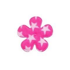 Applicatie bloem knal roze met witte sterren katoen klein 25 mm (ca. 100 stuks)