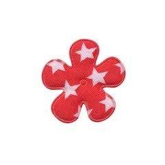 Applicatie bloem rood met witte sterren katoen klein 25 mm (ca. 100 stuks)