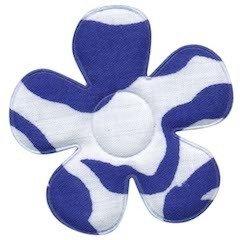 Applicatie bloem met zebra print wit/blauw groot 45 mm (ca. 100 stuks)