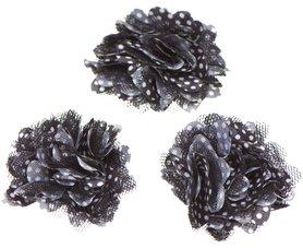 Bloem stof zwart met witte stip ca. 5 cm (5 stuks)