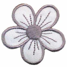 Applicatie bloem wit/grijs (ca. 10 stuks)