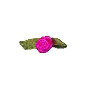 Roosje satijn knal roze op blad 10 x 30 mm (ca. 25 stuks)