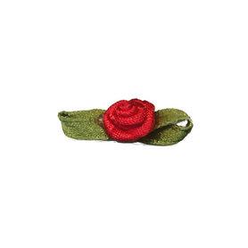 Roosje satijn rood op blad 10 x 30 mm (ca. 25 stuks)