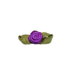 Roosje satijn paars op blad 10 x 30 mm (ca. 25 stuks)