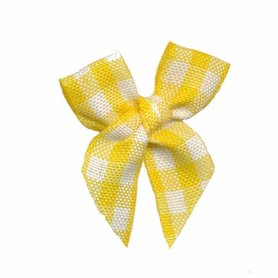 Boerenbont strikje geruit geel-wit (ca. 25 stuks)