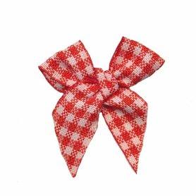 Boerenbont strikje geruit rood-wit klein ruitje (ca. 25 stuks)