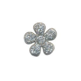 Applicatie glitter bloem zilver klein 20 mm (ca. 100 stuks)