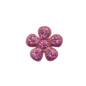 Applicatie glitter bloem fuchsia klein 20 mm (ca. 100 stuks)